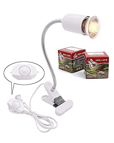 lampada tartarughe Lampada riscaldante per tartaruga acquario lampada riscaldante per rettili E27 UVA + UVB lampada hot spot per rettili acquario per rettili 25W-75W (bianco)