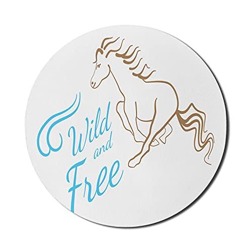Alfombrilla para ratón Horses Running para computadora, motivo de animales con inscripción salvaje y gratuita sobre fondo liso, alfombrilla redonda antideslizante de goma gruesa para juegos mo