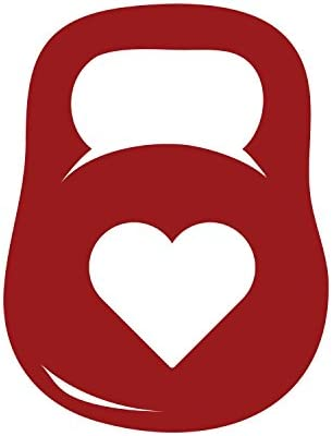 Kettlebell Heart 6 Wide BURGUNDY Cut Vinyl Decal For MacBook Car Laptop or Anything product image