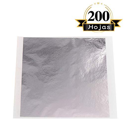 VGSEBA Pan de Oro de Imitación 200 hojas 13x13.5cm Lámina Dorada para Dibujos Artesanías Manualidad Uñas Muebles (Plateado)