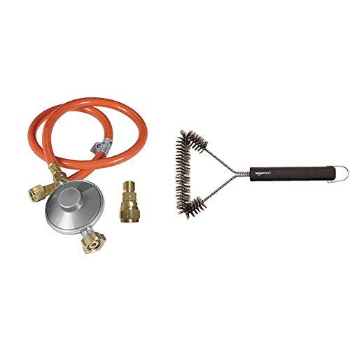 Outdoorchef Grill Gasdruckregler 50mbar– Druckminderer für einfache Selbstmontage – Gasschlauch + Druckregler + Adapter für Gasgrill & Amazon Basics - Grillbürste, dreieckig, 30,5cm