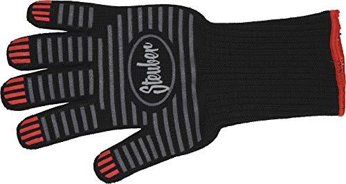 Steuber Premium Line Grillhandschuh extra langer Bund, bis 250°C, Universal-Größe, Baumwolle/Polyester mit Silikon-Antihaft-Streifen, schwarz