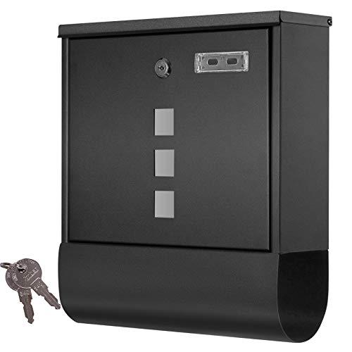 Grafner Design Briefkasten mit Zeitungsfach, schwarz pulverbeschichtet, abschließbar – 2 Schlüssel inkl, 3 Sichtfenster, eckige Ausführung, einfacher Anbau, inkl. Montagematerial anthrazit