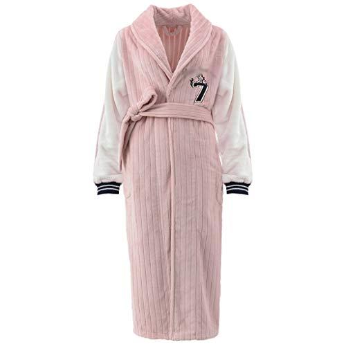 Albornoz largo para mujer, cálido y ligero, bata de forro polar coral con bolsillos, vestidos de salón (color rosa, tamaño: mediano)