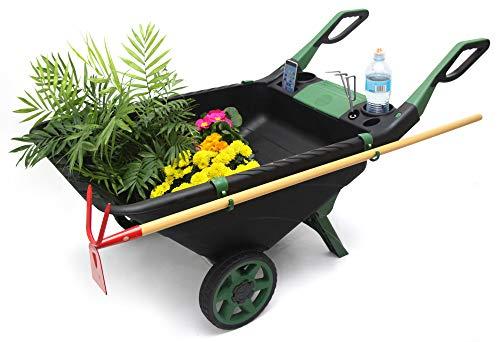 UPP Kunststoff Schubkarre EASY 80L | Multifunktionale Schiebkarre ausgestattet mit Getränke- & Handyhalterung, Gerätehaken & Ablagefach | Helfer im Garten für Holz, Laub oder auch als Sackkarre