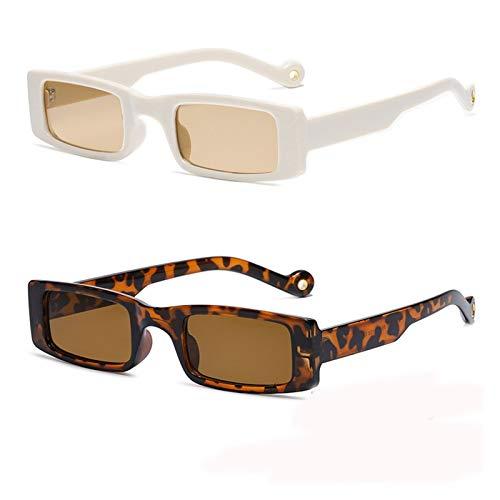 ZYHWS - Gafas de sol rectangulares para mujer con marco cuadrado pequeño vintage para sol, gafas de sol para hombre, color verde claro y transparente para mujer (color: 1 beige 1 leopardo)