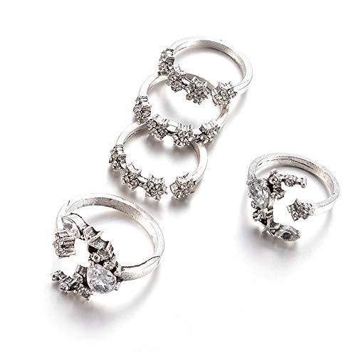 KENYG Modeschmuck 5 Stück Mond Stern Kristall Silber Offen Verstellbare Ringe Frauen Damen Mode Schmuck Weihnachten Geburtstag
