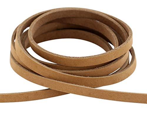 Auroris - Lederband flach aus Nubukleder Breite: 5mm, Länge: 5 Meter, Farbe: Hellbraun