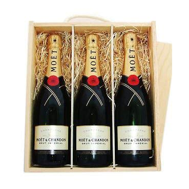 Moët & Chandon Brut Imperial Champagne NV 3 x 75cl in a Wooden Box (Case of 3)