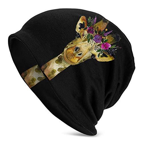 XCNGG Blumengiraffe Tier Frauen Männer Stilvolle Mütze Hut Stretch Strick Slouchy Skull Cap