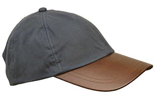 Walker and Hawkes Unisex Baseball-Kappe aus gewachster Baumwolle - Schirm aus Leder - Einheitsgröße Blau