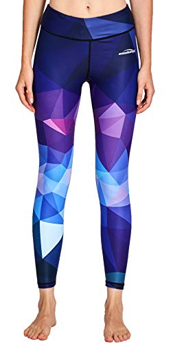 COOLOMG Damen Tights Yoga Hosen Kompression Leggings Sport Trainingshose Lang Diamond Forest M