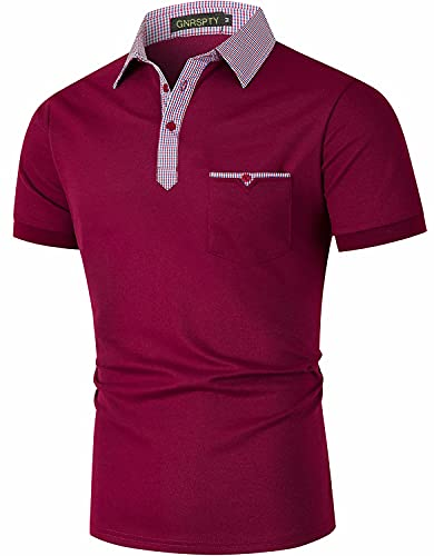 GNRSPTY Polos para Hombre Manga Corta Algodón con Bolsillos Reales Cuello a Cuadros Camisas Slim Fit Golf Deporte Trabajo,Rojo 1,XL