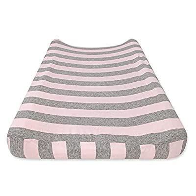 Burt's Bees Baby - Changing Pad Cover, 100% Organic Cotton Changing Pad Liner for Standard 16 x 32 Inch Baby Changing Mats (Blossom Bold Stripe)