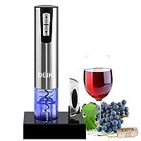 cavatappi elettrico, deik apribottiglie elettronico, inossidabile & con taglia-capsula e base di ricarica, il regalo ideale per tutti gli amanti del vino