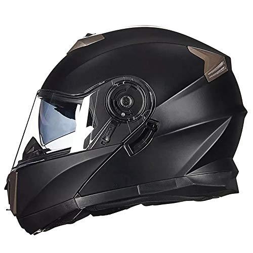 LCSD Casco de motocicleta de cara abierta, casco de coche eléctrico, doble lente de cubierta completa, modelo personalidad, cálido casco de cara completa, negro mate, grande (tamaño: XL)
