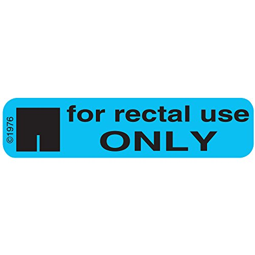 "PHARMEX 1-78G Permanent Paper Label,""for Rectal USE"", 1 9/16"" x 3/8"", Blue (500 per Roll, 2 Rolls per Box)"