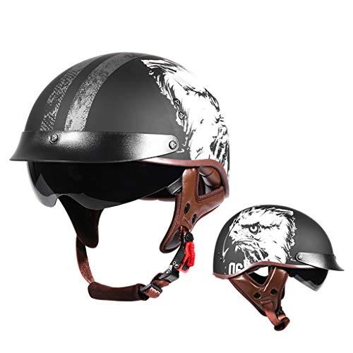 HYRGLIZI Retro Open Face Casco,Unisex Personalidad Ajustable Confortable Casco,Incorporado Gafas,para Motocicleta Scooter Jet Cruiser Chopper Moped Cascos,Certificado Dot(57-63cm)