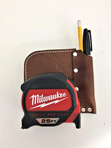 Low Profile Tape Measure Holder with Belt Clip and Pencil Pouch (Dark Brown)