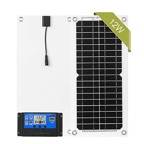 Lechnical Kit de panel solar, 12W 12V con controlador de carga Puerto USB Módulo monocristalino fuera de la red con kits de cables de conexión SAE para Camping Car Boat Marine