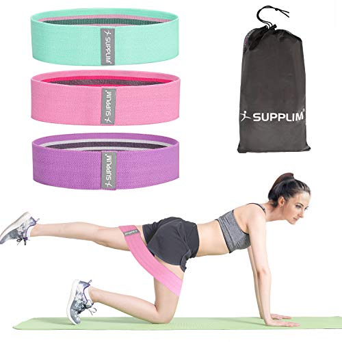 Supplim Resistance Bands for Legs and Butt,Exercise Bands Set Booty Bands Hip Bands Wide Workout Bands Loop Bands Anti Slip Circle Fitness Elastic Band for Men Women(Set 3)