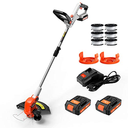 PAXCESS String Trimmer, 20V 12-Inch Cordless String Trimmer/Edger, 2PCS 2.0Ah Battery and One Charger, 6 Pack Spool Line & 2 Replacement Cap, Length Adjustable, Powerful & Lightweight