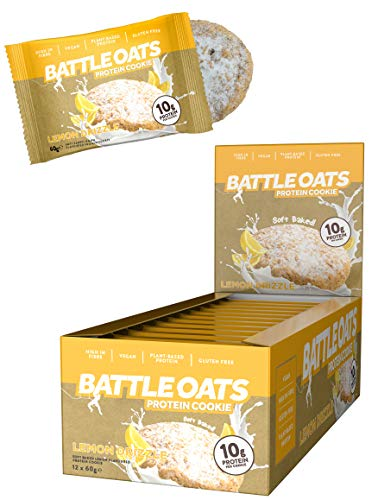 Battle Oats Vegan Protein Cookies - Healthy Snack, Gluten Free, 12 x 60 g - Lemon Drizzle