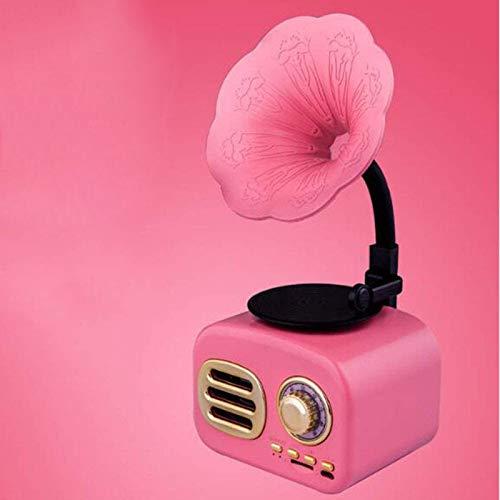 Tamaño inalámbrico de la palma del altavoz Bluetooth, con diseño retro de gramófono de radio FM, batería recargable incorporada, ranura para tarjeta TF, para oficina en casa, mini ( Color : Pink )