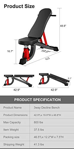 YouTen Adjustable Bench Press for Abs Exercise Like Dragon Flag, Easy Moving Versatility Flat Incline Decline Bench, Weight Capacity Home Gym Equipment Black