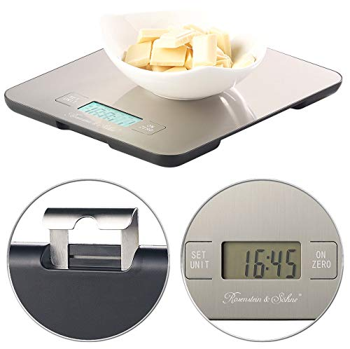 Rosenstein & Söhne Digitalwaage: Digitale Edelstahl-Küchenwaage mit Timer, bis 15 kg, auf 1 g genau (Haushaltswaage)