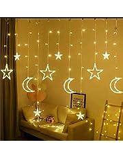 Led String Lights Stars Shaped And Moon Curtain Decorative Lights Holiday Decoration Ramadan Gift