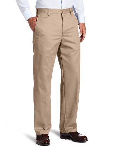 IZOD Men's American Chino Flat Front Straight Fit Pant, English Khaki, 34W x 32L