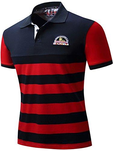 Neleus Men's Striped Short Sleeve Cotton Polo Shirts,623,Dark Blue & Red,XL,EUR Tag 3XL