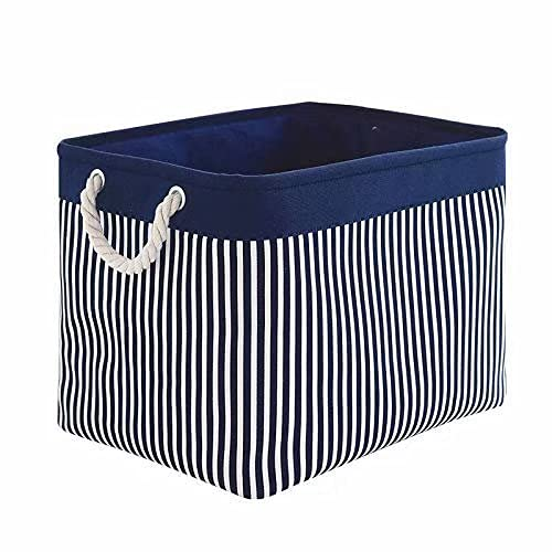 TcaFmac Large Rectangular Nautical Baskets for Storage, Decorative Canvas Closet Storage Bins Organizing Baskets for Shelves, Nursery Toys,Empty Christmas Gifts 16(L) x 12(W) x 12(H) inch