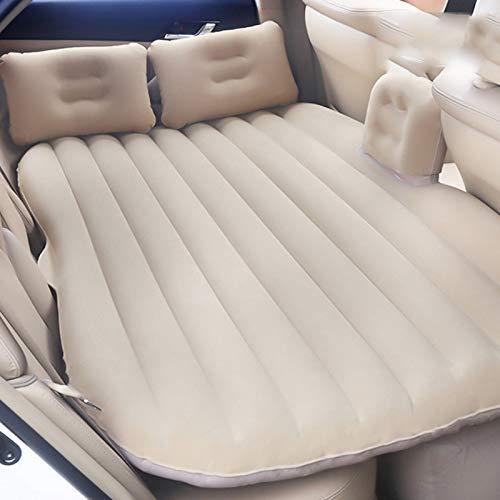 SUV Flocking auto opblaasbaar bed, achterbank matras luchtbed met pomp en kussens voor rust slaap reizen camping pad CIM0906 Beige