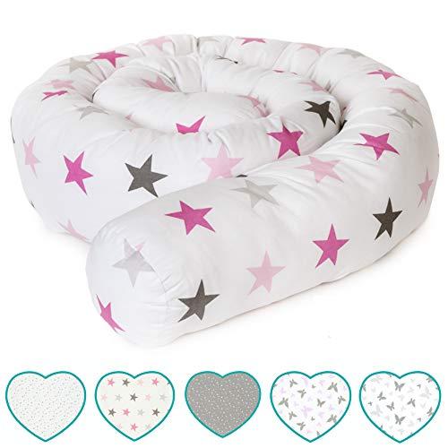 mimaDu Nestchenschlange, Bettrolle (210 x10 cm) Bettumrandung für Babybett - weich, kuschelig - ÖKO-Tex zertifizierte Baumwolle - (weiss-rosa-grau)