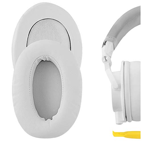 GEEKRIA Memory Foam Earpads Replacement for Audio-Technica ATH-M50X, ATH-M10, ATH-M20X, ATH-M30X, ATH-M40X, ATH-ANC9, Over-Ear Headphones Ear Covers/(White Thick Plus)