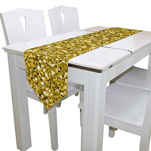 N/A Eettafel Runner Of Dresser Sjaal, Goud Glitter Grappig Deck Tafelkleed Runner Koffie Mat voor Bruiloft Partij Banket Decoratie 13 x 90 inch
