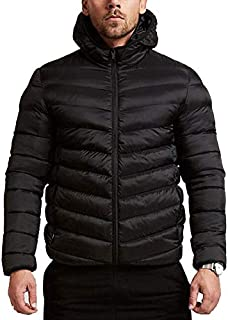 Balakie Mens Warm Hooded Thick Bubble Coat Solid Zip Pocket Down Jacket Outwear