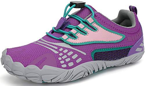 SAGUARO Barefoot Zapatillas de Trail Running Niños Niñas Minimalistas Zapatos de Deporte Antideslizantes Calzado Descalzos para Fitness Caminar Correr Asfalto Montaña Senderismo, Iris Morado, 24 EU