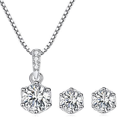 PRETTERY Juego de joyas de plata de ley 925 para mujer, con circonita cúbica redonda 3A, chapado en oro blanco, con caja de regalo, Cristal, Cubic Zirconia,