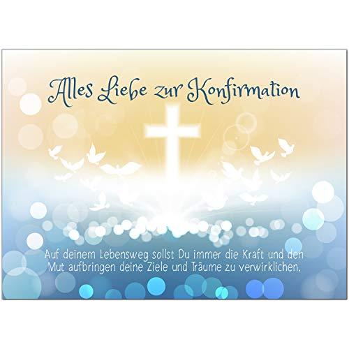 Glückwunschkarte Konfirmation mit Umschlag/Moderne Tauben im Verlauf/Konfirmationskarten/Karte für Glückwünsche/Feier