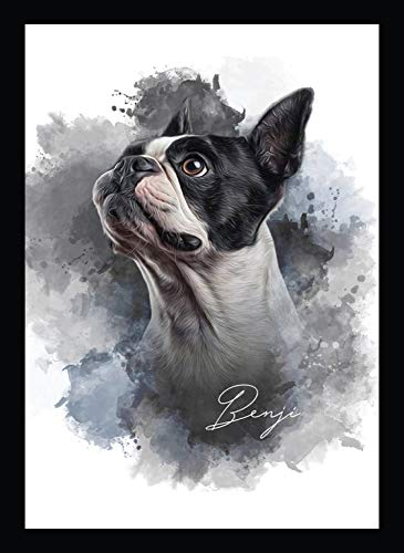 BIRD'S MIND Animal Pet Dog Wall Hanging Synthetic Wood Photo Framed Poster Living Room Bedroom Home Decor Wall Animal Dog Frames L x H 9.5 Inches x 13 Inches