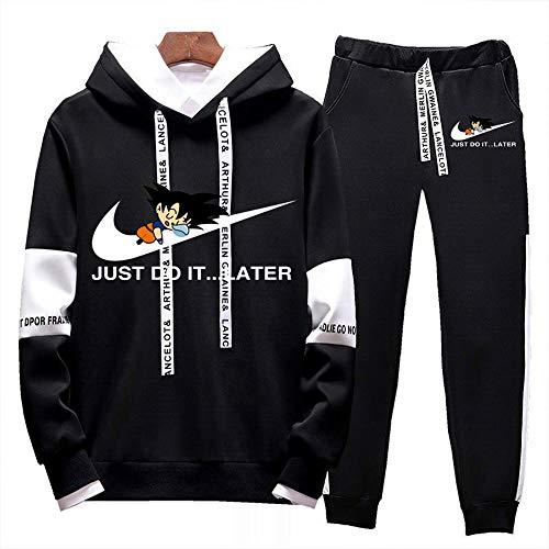JJZZ Dragon Ball Trainingsanzug Pullover und Hose Sweatshirt mit Kapuze Hoodie Polyesteranzug für Herren und Jungen Jogginganzug Jogginghose