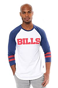 Ultra Game Men's NFL Raglan Baseball 3/4 Long Sleeve Tee Shirt, Buffalo Bills, White, X-Large