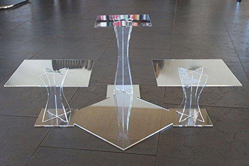 Manschin Laserdesign Tortenständer Tortenetagere Acryl Etagere Hochzeit 3 Etagen Plexiglas 20x20 25x25 30x30cm