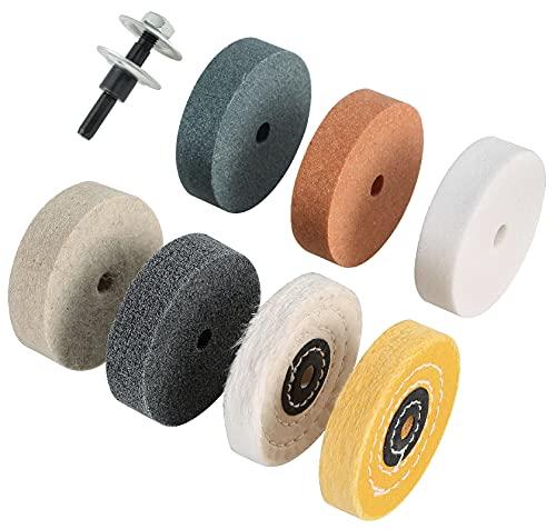 Amacupid Buffing Polishing Wheel Kit-3 inch Grinding Wheel Fiber Wool Cotton Buffing Wheel Drill Arbor Adapter, Mini Grinder Bench Grinder,3 8 inch Drill Arbor Hole