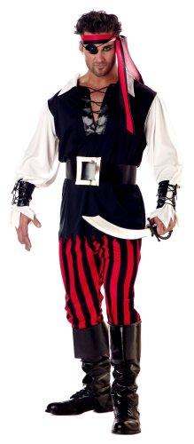 California Costumes mens Adult Cutthroat Pirate Costume, black/Red/White, Medium