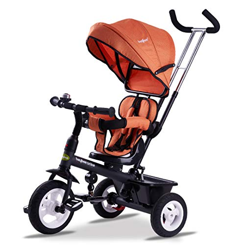 Baybee Mario Sportz Trikes Baby, Kids Cycle   Tricycle for Kids with Canopy and Parental Adjust Push Handle - Smart Plug & Play with Rubber Wheels Baby Cycle for Kids/Baby for 1.5 Years to 5 Years (Orange)