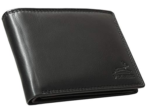 Fa.Volmer ® Schwarze Herren Ledergeldbörse aus echtem Leder Querformat mit RFID-Schutz #VO15